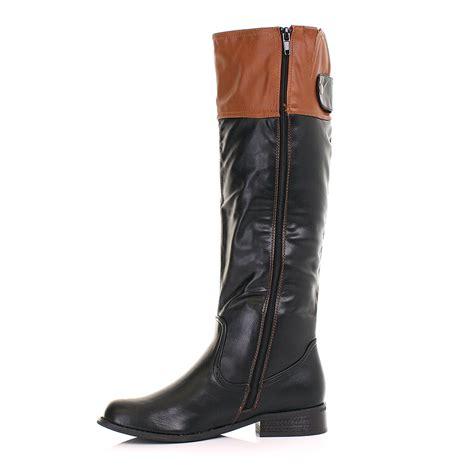 flat boots womens two tone black cuff knee high