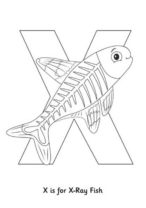 X Is For Xray Fish Colouring Page For Preschoolers From X Fish Coloring Page