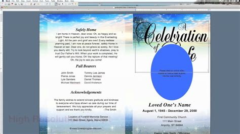 free funeral program template microsoft word music
