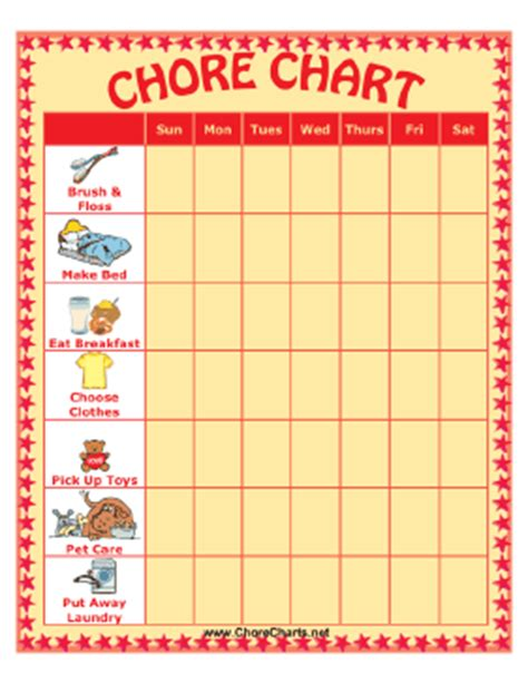 Printable Chore Chart With Seven Chores And Pictures Picture Chore Chart Template