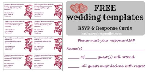 Wedding Rsvp Postcard Template Free Free Wedding Templates Rsvp Reception Cards Katie S Crochet Goodies