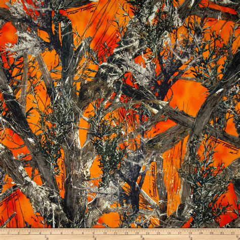 Realtree Upholstery Fabric by True Timber Fleece Mc2 Blaze Orange Brown Discount