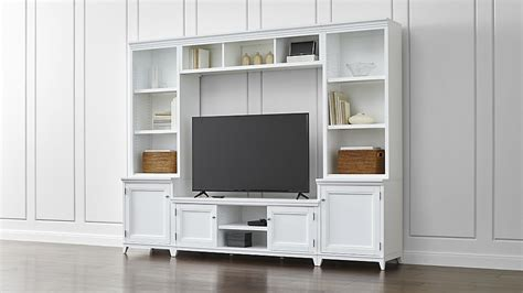 Fireplace Vacuums - harrison 6 piece white entertainment center open bookcases crate and barrel