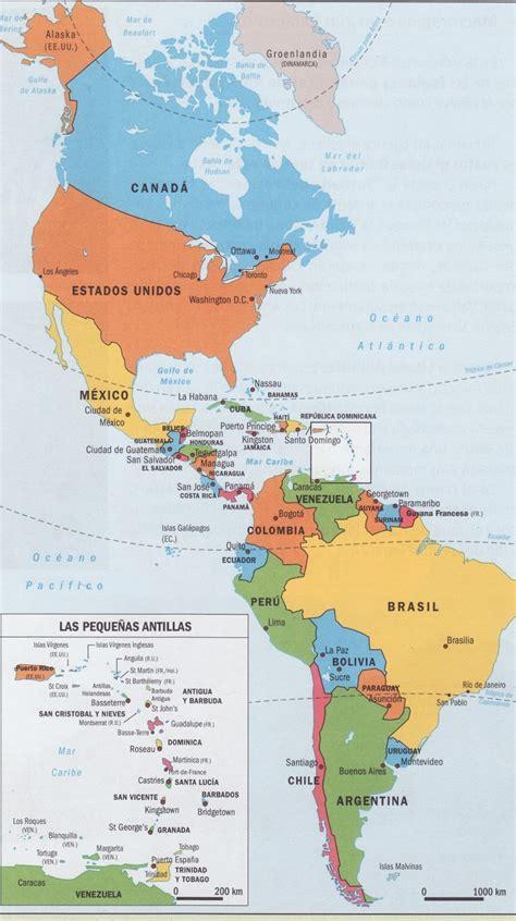 mapa politico de america con todos los paises de los ni 241 os mapas de espa 241 a y mundo para ni 241 os