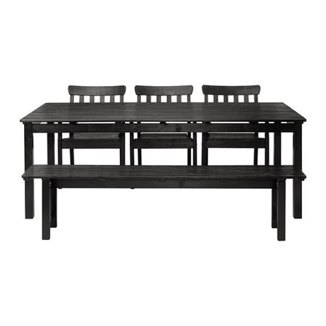 Dining Table Bench Ikea 196 Ngs 214 Table 3 Armchairs Bench Outdoor Black Stained