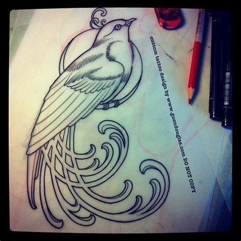 art deco tattoo designs nouveau bird design by guen douglas tattoos