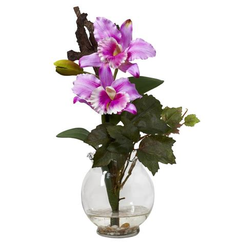 14 5 in h lavender mini cattleya with fluted vase silk