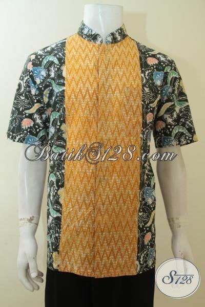 Kemeja Koko Modern Modis Pria Kkl 17 batik hem model kerah shanghai batik cap buatan