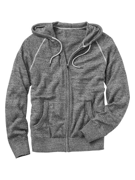 gap marled zip up sweater hoodie in gray for medium grey lyst