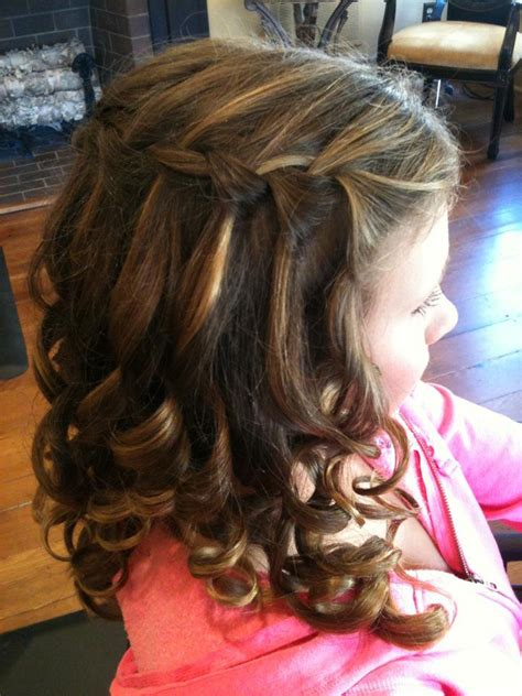 flower girl braided hairstyles for weddings waterfall braid sideview cute for flower girl hair
