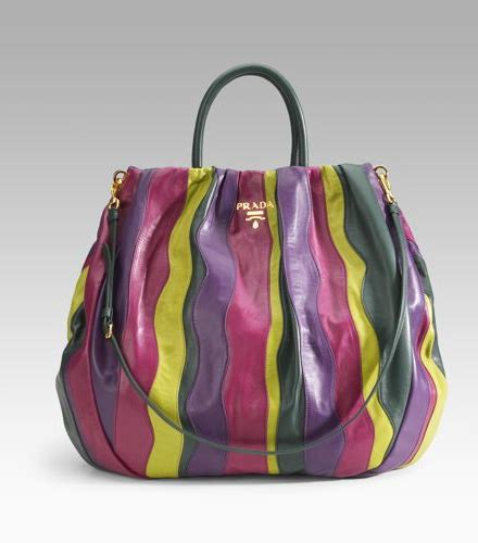Prada Nappa Stripes Multicolor Tote by Prada Nappa Stripes Multicolor Tote