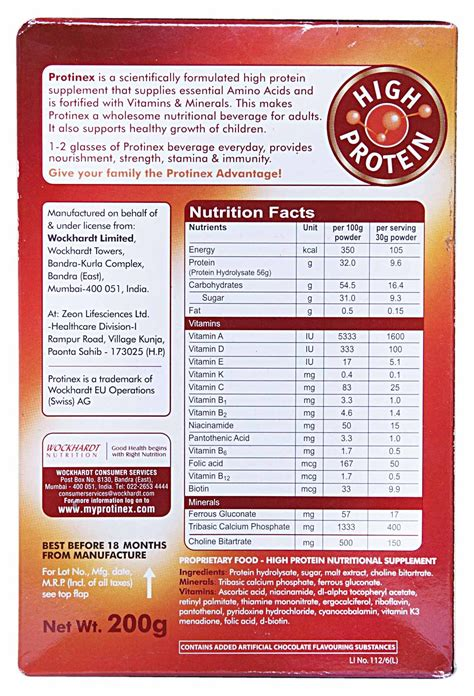 protinex ingredients 2 x wockhardts proteinex original drink powder 200g