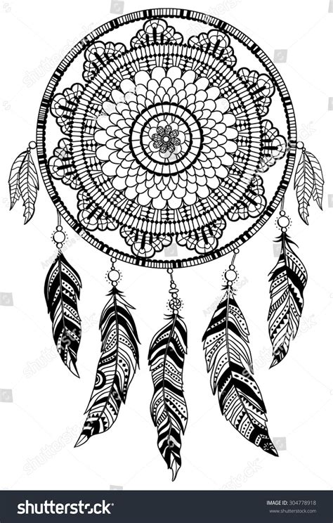 american inspired coloring book dreamcatcher 50 tribal mandalas patterns detailed designs books dreamcatcher vector illustration stock vector 304778918