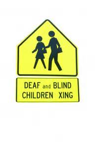 the deaf and the blind deaf and blind children crossing free stock photo