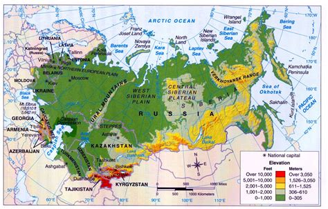 map of russia with cities rivers and mountains mountain ranges in russia map