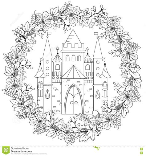 coloring pages for child therapy relaxing coloring page with castle in forest wreath