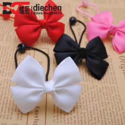 baby hair ties 2pcs lot assorted colors solid grosgrain bows toddler baby rubber bands hair elastics hair