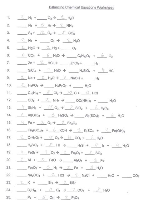 Balancing Chemical Equations Worksheet Key by Balancing Chemical Equations Worksheet Answer Key