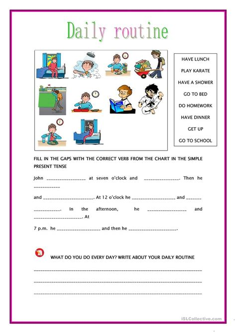 english printable worksheets daily routine simple present tense daily routine worksheet free esl
