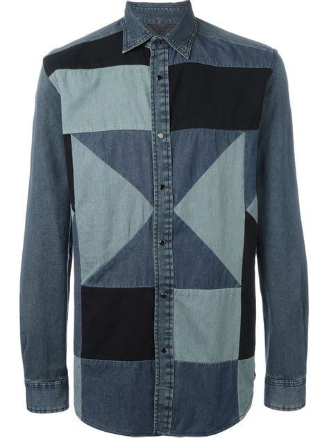 Patchwork Shirts - diesel denim patchwork shirt in blue for lyst