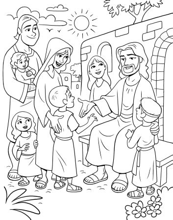 jesus loves me coloring page lds christ meeting the children