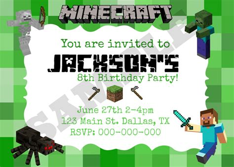 minecraft invitation template 40th birthday ideas minecraft birthday invitation