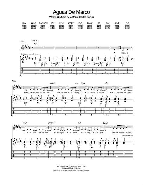 aguas de marco tablature guitare par antonio carlos jobim