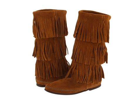 fridge boots minnetonka calf hi 3 layer fringe boot zappos free