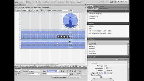 tutorial on dreamweaver cc tutorial dreamweaver cc crear encabezado fluido con en