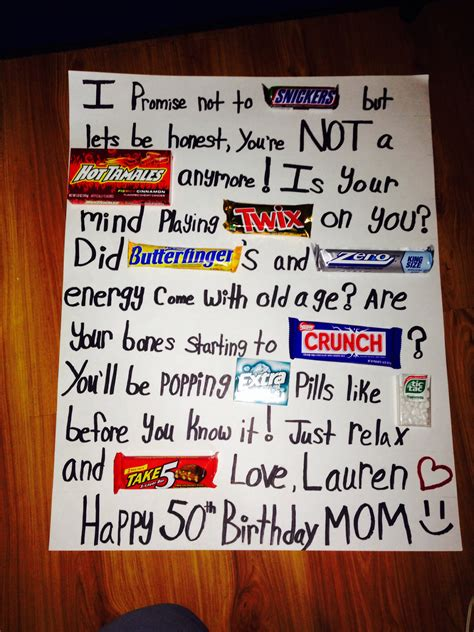 Poster Birthday Card Ideas 50th Birthday Candy Poster Board So Cute And Easy Party