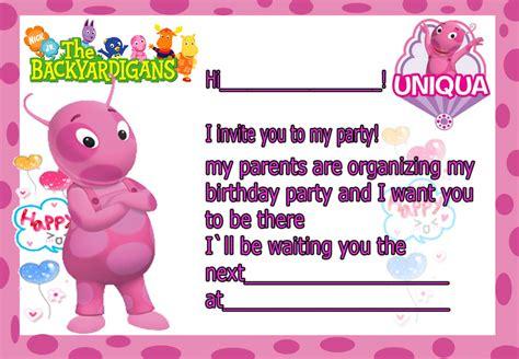 Invitation Birthday Card Birthday Invitation Card Backyardigans Uniqua Happy