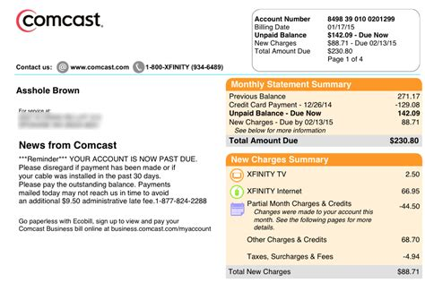 Comcast Bill Changes Customer S First Name To A Hole Ars Technica Cable Bill Template