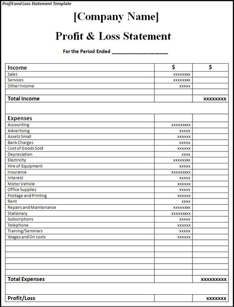 loss and profit statement form