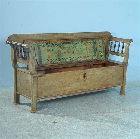 vintage storage bench antique original green painted bench with storage dated