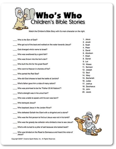 printable bible quiz printable who s who children s bible stories baby