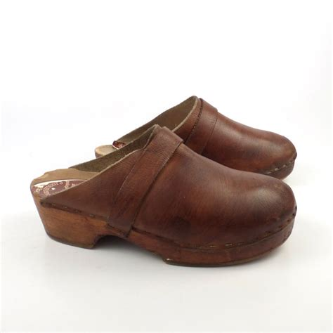 wooden clogs for wooden clogs shoes vintage 1980s wallstrom s brown leather