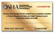 Osha 10 Card Template by Osha Osha 10 Course Osha 30 Course