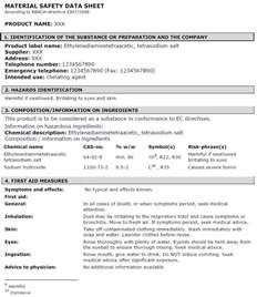 Material Data Sheet Template by Msds