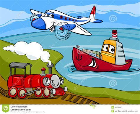 boat plane clipart plane ship train cartoon illustration stock vector