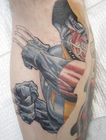 3d tattoo wolverine skin rip tattoos pictures