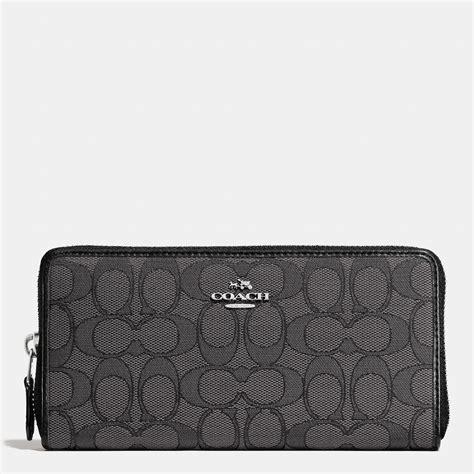 Dompet Coach Original Coach Accordion Zip Wallet Black Flower coach accordion zip wallet in signature canvas in gray lyst