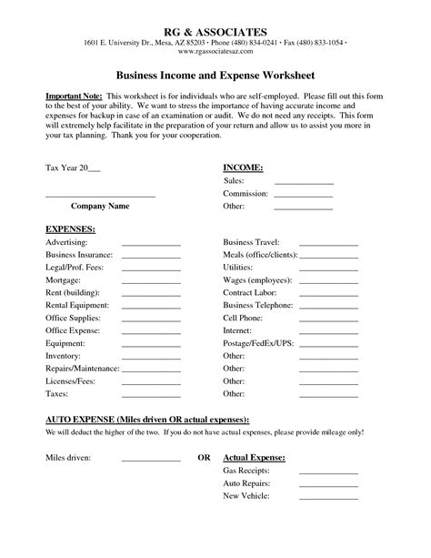 Printable Income And Expense Worksheet by 8 Best Images Of Free Printable Business Expense