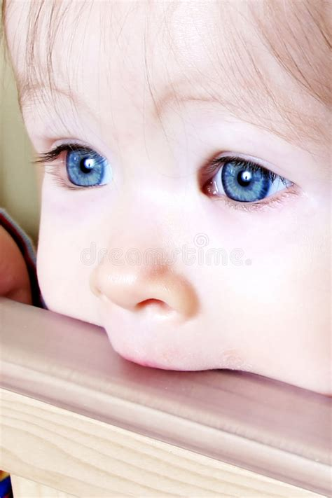 Baby Biting Crib by Baby Biting On Crib Closeup Royalty Free Stock Image