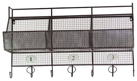 Metal Coat Rack With Shelf by Metal Wall Shelf Mesh Storage Basket Coat Hanger Rack Home
