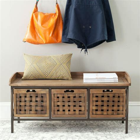 storage bench oak safavieh isaac oak storage bench amh6530e the home depot