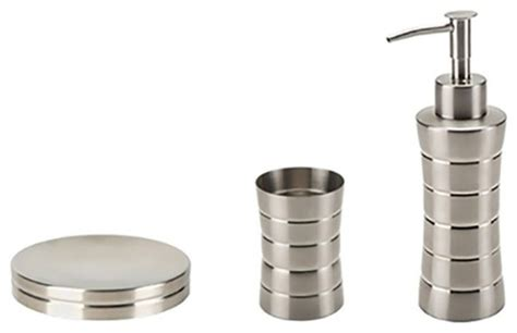 Brushed Nickel Bathroom Accessories Set 3 Stainless Steel Accessory Set In Brushed Nickel Transitional Bathroom Accessory Sets