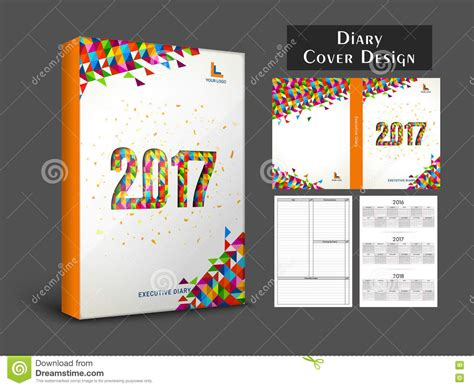 creative diary cover design for 2017 stock photo image