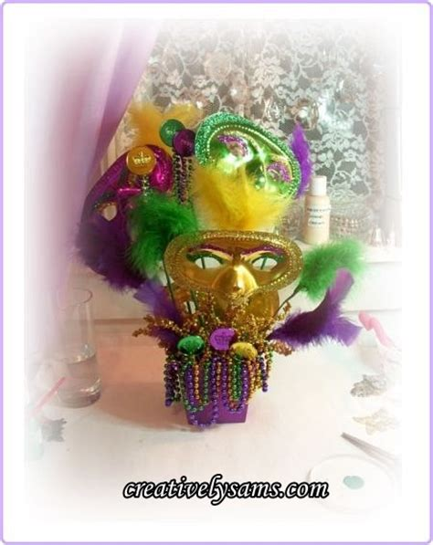 Purple And Yellow Table Decorations Mardi Gras Masks Centerpiececreatively Sam S
