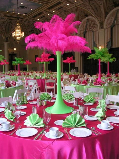 Feather Stand Hot Pink Lime Green Party Decorating Ideas Lime Green Centerpieces