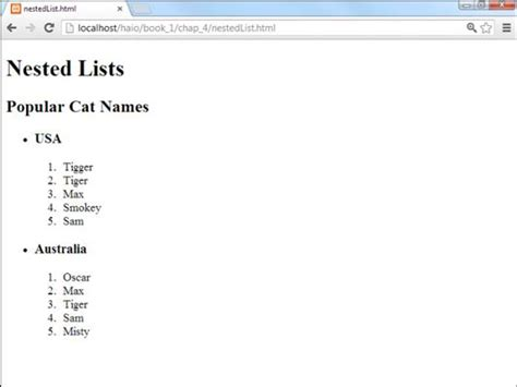 html tutorial ordered list how to create nested lists for html5 and css3 programming